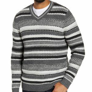 Tommy Bahama Wave Shoal Striped V-Neck Sweater Charcoal Size XXL MSRP:$185