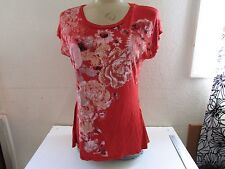 TOP SHIRT, RUSTIC FLOWERS w/RHINESTONES Rayon/Spandex  Petite Large PL NEW
