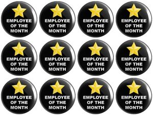 12 x Employee of the Month – Black BUTTON PIN BADGES 25mm 1 INCH