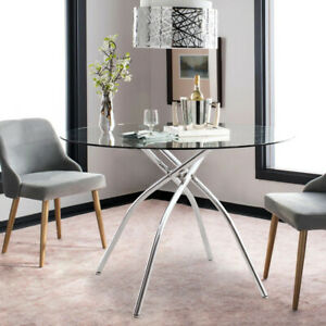 Stable Dining Table and 2/4 Chairs Round Glass Kitchen Table Desk Padded Seat UK
