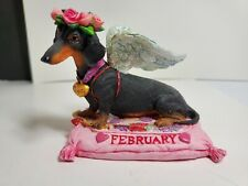 Danbury Mint Dachshund February Calender Dog Figurine
