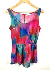 SASS sz 8 blue pink watercolor abstract women romper playsuit jumpsuit dip dye