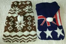 "SMALL DOG JUMPER SWEATER HOODIE KNIT 2 DESIGNS 10 ""back XS SNOWFLAKE UNION JACK"