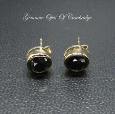 9K gold 9ct Gold Black Diamond Stud Earrings 7.5mm diameter 1.88g 1.5 carats