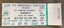 VINTAGE 1990 AEROSMITH TICKET STUB at COMPTON TERRACE FLARA FEY CONCERTS RARE!