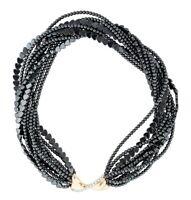 """Heavy Vintage 14k Gold Diamond Hematite Multi Strand Necklace 170 gms 18"""""""