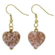 GlassOfVenice Murano Glass Starlight Hearts Earrings - Rose Pink