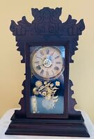 "Antique Waterbury 8-Day Kitchen Clock Time/Strike/Alarm Reverse Painted 22"" Tall"
