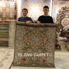 Yilong 4'x6' Palace Hand Knotted Silk Area Rug Vintage Nice Handmade Carpet 068M