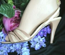 Vintage 70s Siamanto high heel Shoes tan leather Strappy open toe Italy 8