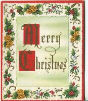 VINTAGE CHRISTMAS HOLLY MISTLETOE PINE CONES BORDER DESIGN MCM ART GREETING CARD