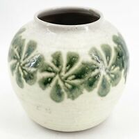 Vintage Salt Glazed Stoneware Studio Art Pottery Vase Artist Signed Green Flower