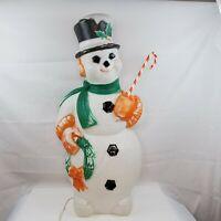 "Blow Mold Poloron VTG Snowman 45"" Wreath Outdoor Lighted Plastic Yard Decor 50's"