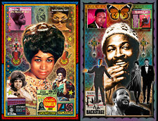"""Aretha Franklin & Marvin Gaye TWO 11x17"""" color FAN posters"""