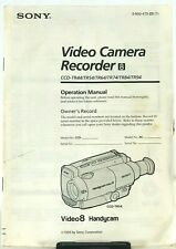 Sony HandyCam TR44/TR54/TR64/TR74/TR84/TR94 Hi8 Owner's Operation Manual Only