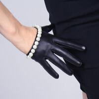 TECH GLOVES Real Leather Extra Short Crop Black Lambskin Sheepskin White Pearl