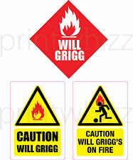 Precaución se Grigg en llamas Sticker Conjunto de 3 Wigan FC Divertido Vinilo Coche Furgoneta portátil