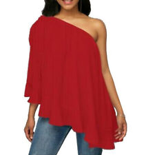 Women Lady One Shoulder Ruffled Tops T-Shirt Loose Casual Blouse Shirt Plus Size