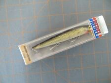 Vintage Mint in Package Rebel Gold & Black #F-2002 Floating Minnow - 4 1/2 inch