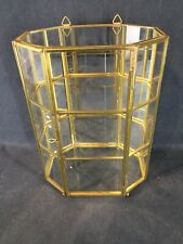 Miniature Display Cabinet, Brass Colouered , with mirrored back panel.