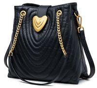 Handtasche Damen Schwarz Gesteppt Herz Gold Leder Umhängetasche Tasche Schnalle