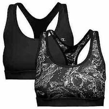 Champion Ladies Sports Bra 2-pack Black - Black Splash Size SMALL OPEN BOX