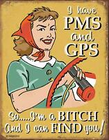 PMS & GPS Vintage Retro Rustic Tin Metal Sign 13 x 16in