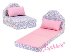 """Gray Pink Print Fold Out Bed for 18"""" American Girl Doll Furniture Sofa Sleeper"""