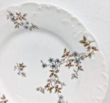"HAVILAND Limoges 9 1/2"" Dinner Plate Tiny Blue Blossoms Flowers On Vines France"