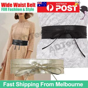 Wide Waist Belt Leather Waistband Wrap Around Obi Band Cinch Women Stretch Lady