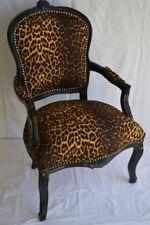 Fauteuil de style Louis XV leopard bois noir