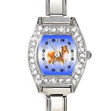 Collie Dog CZ Ladies Stainless Steel Italian Charms Bracelet Wrist Watch BJ1132