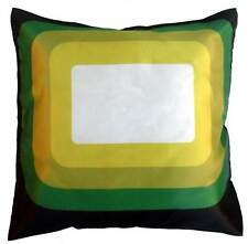 70's Retro Style Square Cushion Cover Geometric Pattern Print Bright Green Multi
