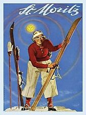 St Moritz Swiss Alps Ski Skiing Holiday Retro Art Deco Novelty Fridge Magnet