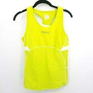 Zoot Sports Women's Large Triathlon Cycling Tank Top Bra Side Pockets Neon