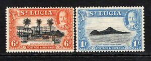 St. Lucia KGV 1936  6d & 1s SG120-121 M/Mint