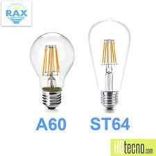 2 Lampadine Filamento LED Edison Attacco E27 Vintage Retrò 8W 16W A60 ST64