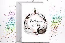 ballerina ballet black swan greeting card 5x7 inches birthday 1