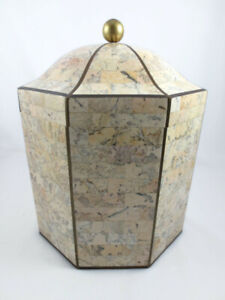 Vintage Maitland Smith Tessellated Stone & Wood Octagonal Box with Brass Inlay