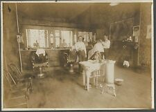 Cabinet Photo ~ Barber Shop Interior 3 Chairs A Fancy Heated Sink c1910
