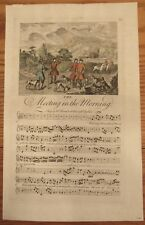 Antique c.1738 sheet music engraving Meeting in the Morning Early English song