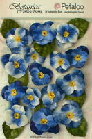 PANSIES Fabric Velvet BLUE 7 Flowers25mm & 8 Flowers 35mm with Leaves Petaloo V1