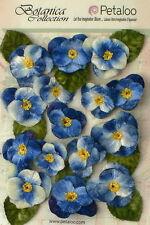 Blue Fabric Velvet Pansies 7 Flowers25mm & 8 Flowers 35mm With Leaves Petaloo