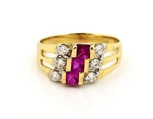 Solid 14K Clear, Round & Square 42 CZ Stones Ladies Ring