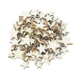 100x Unfinished Wooden STAR Embellishments Art Craft Cardmaking Scrapbooking