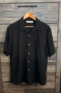 Tommy Bahama Button Down Relax Shirt Men's Size L 100% Silk Black Short Sleeve
