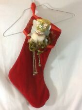 Unique handmade RED CHRISTMAS STOCKING With Santa and Jingle Bells DIFFERENT