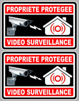 2 X VIDEO SURVEILLANCE PROPRIETE ALARME CAMERA 10cm AUTOCOLLANT STICKER VA050.
