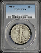 1938-D Walking Liberty Silver Half Dollar PCGS VF-20 -168754