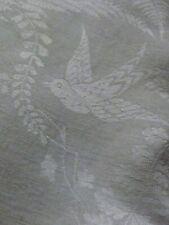 """104"""" x 88"""" Antique Irish Linen Double Damask Tablecloth Birds Nest Butterflies"""